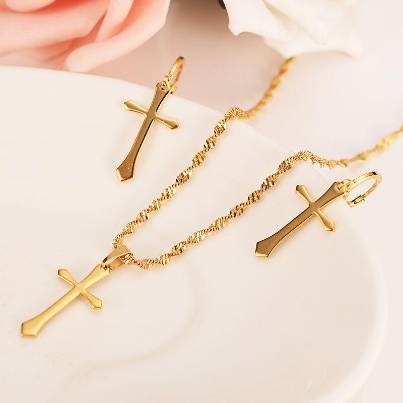 Oro Set de Joyas con cruces las mujeres encantos de la joyería de las niñas Egipto jeroglíficos Crux Ansata colgante, collar, pendientes, regalos