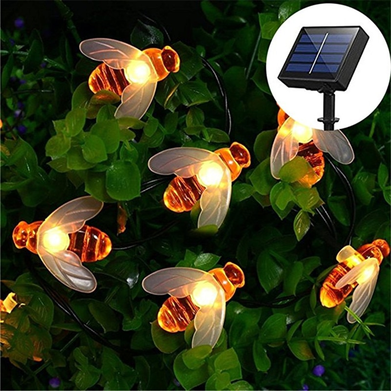 2021 Hot 5M 20 LED Solar Powered Bee String light Fairy String Outdoor Garden Lights lamp Holiday Festival Party Christmas Decor