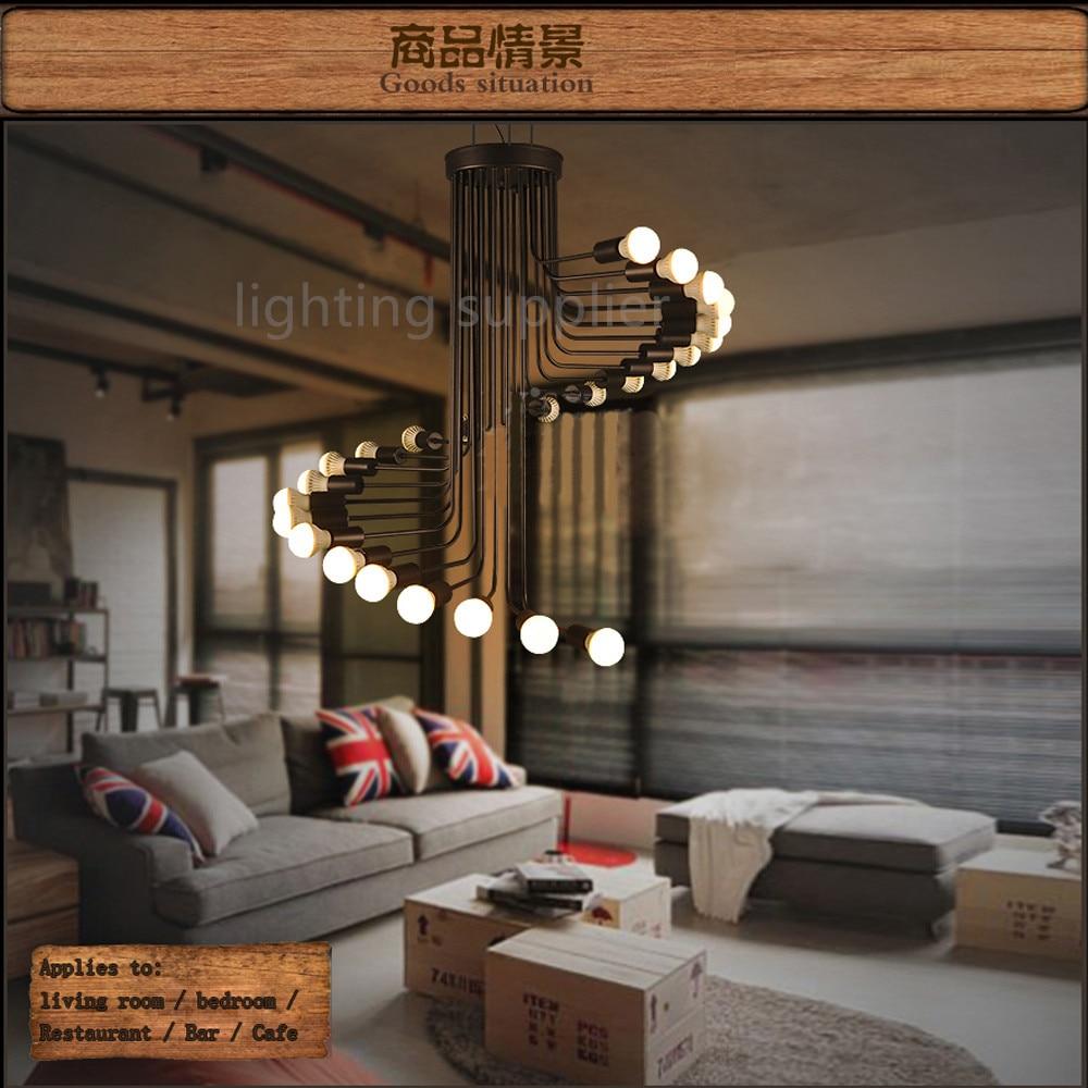 Retro Spiral Pendant Light Hanging Lamp American Country Loft Iron Art Minimalist Home Coffee Museum Wrought Bar Restaurant Lamp