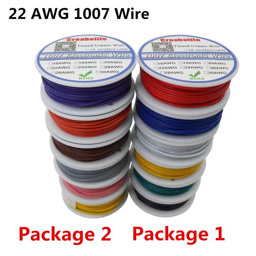 48m ul 1007 22awg 6 cores pacote da mistura 1 ou pacote 2 carretel linha de cabo de fio elétrico companhia aérea estanhado fio de cobre pcb rohs fio