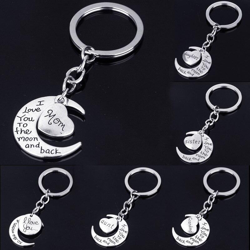 Модный семейный член Луна буквы брелок папа мама сестра брат брелок для ключей в подарок