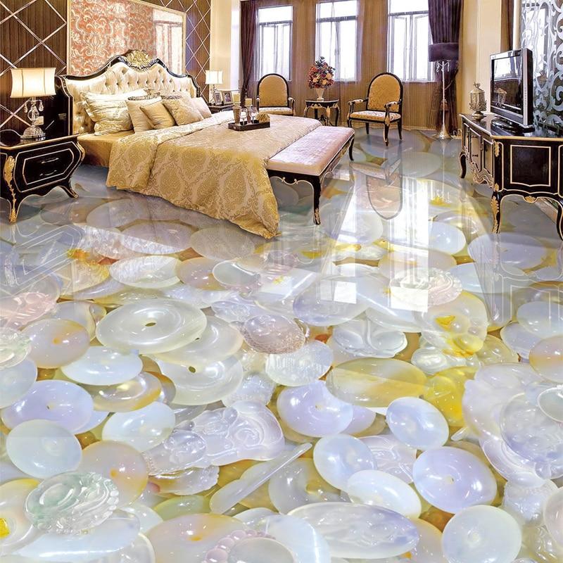 Mural autoadhesivo personalizado para piso, Papel tapiz fotográfico brillante y translúcido tallado De Jade, Papel tapiz para sala De estar, dormitorio, Papel De pared 3 D