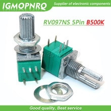 5 pièces RV097NS 500K simple lié B500K avec un commutateur audio 5pin arbre 15mm amplificateur de puissance potentiomètre détanchéité IGMOPNRQ