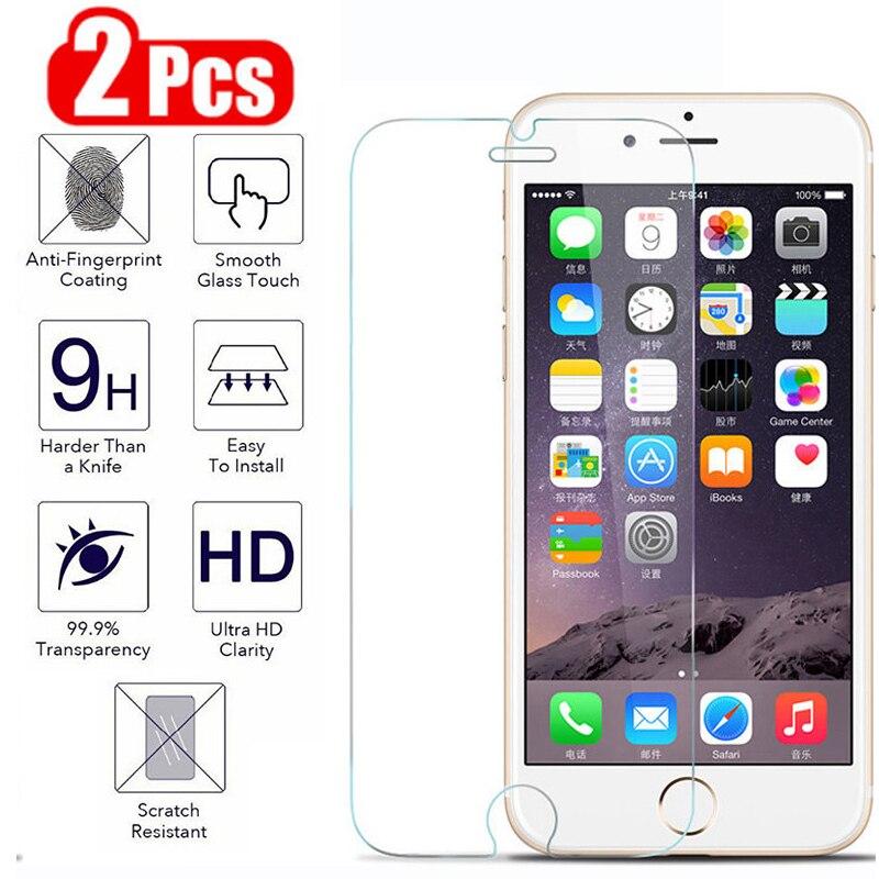 2 piezas de vidrio protector para IPhone 6 S 6s 7 8 Plus 6splus vidrio templado para Apple IPhone 6plus 7plus 8plus seguridad