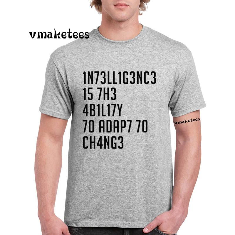 Stephen Hawking, citas formales, camiseta de inteligencia, cuello redondo, manga corta, camiseta Casual de verano, Ω 4423