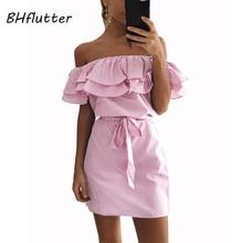 BHflutter épaule dénudée volants robe dété 2018 nouveau Style rayé tenue décontractée femmes fête Club Mini Sexy robes de grande taille