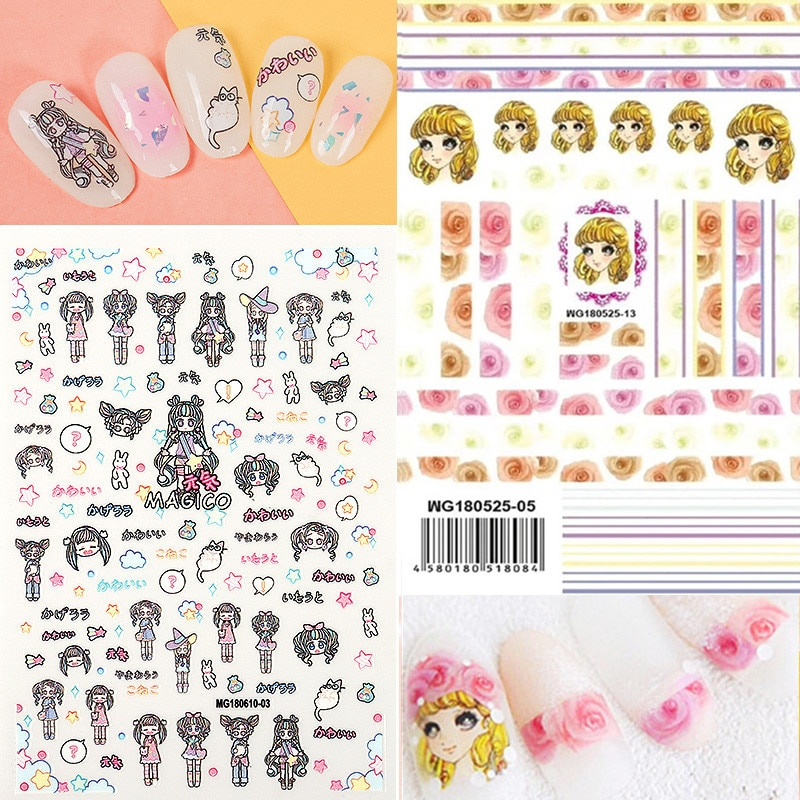 Lo más nuevo, suave, chica, acuarela, pintura de flores, adhesivos para manicura 3D, calcomanía para uñas, estampado, exportación, diseños japoneses, decoraciones de pedrería