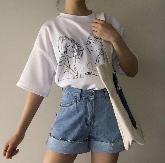 Kuakuayu HJN mujeres de la moda de Corea arte camiseta Ulzzang de camiseta blanca estilo de la calle camisa