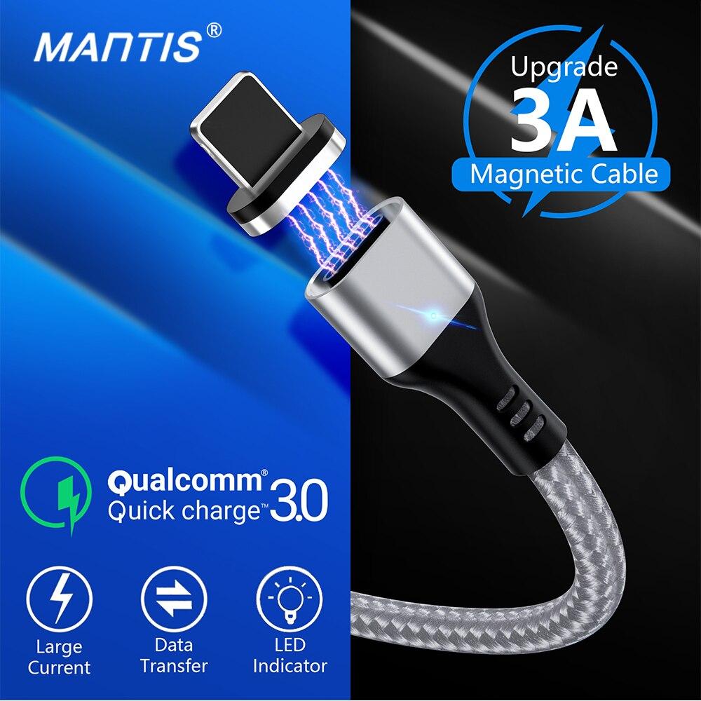 Cable magnético MANTIS 3A para iPhone Xs Max Xr X 8 7 6 6s 5 5S Se Ipad Cable mini USB carga rápida 3,0 Cable de carga rápida