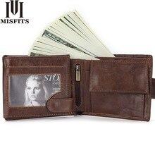 MISFITS Brand Men Wallet Genuine Leather Short Coin Purse Fashion Hasp Wallet For Male Portomonee wi