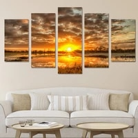 modern home wall art decor unframed modular picture 5 pieces sunrise morning lake landscape hd print painting on canvas