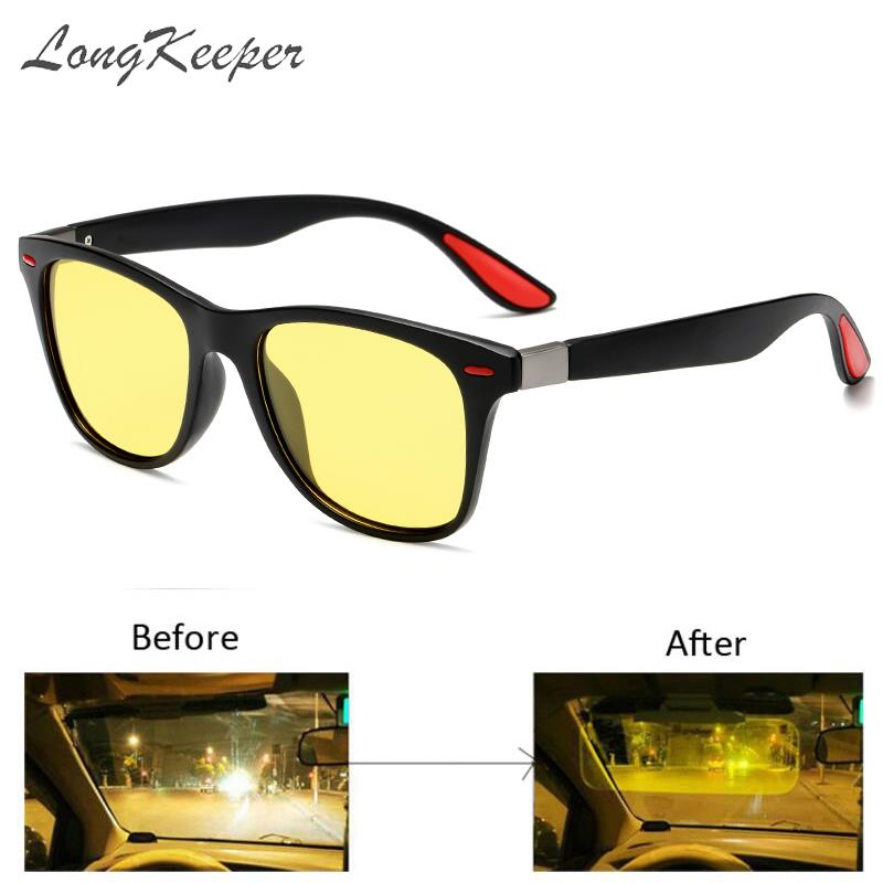 LongKeeper Anti-glare Yellow Glasses Men Women Polarized Night Vision Sunglasses Rivet Decorate Classic Driving Goggles Oculos