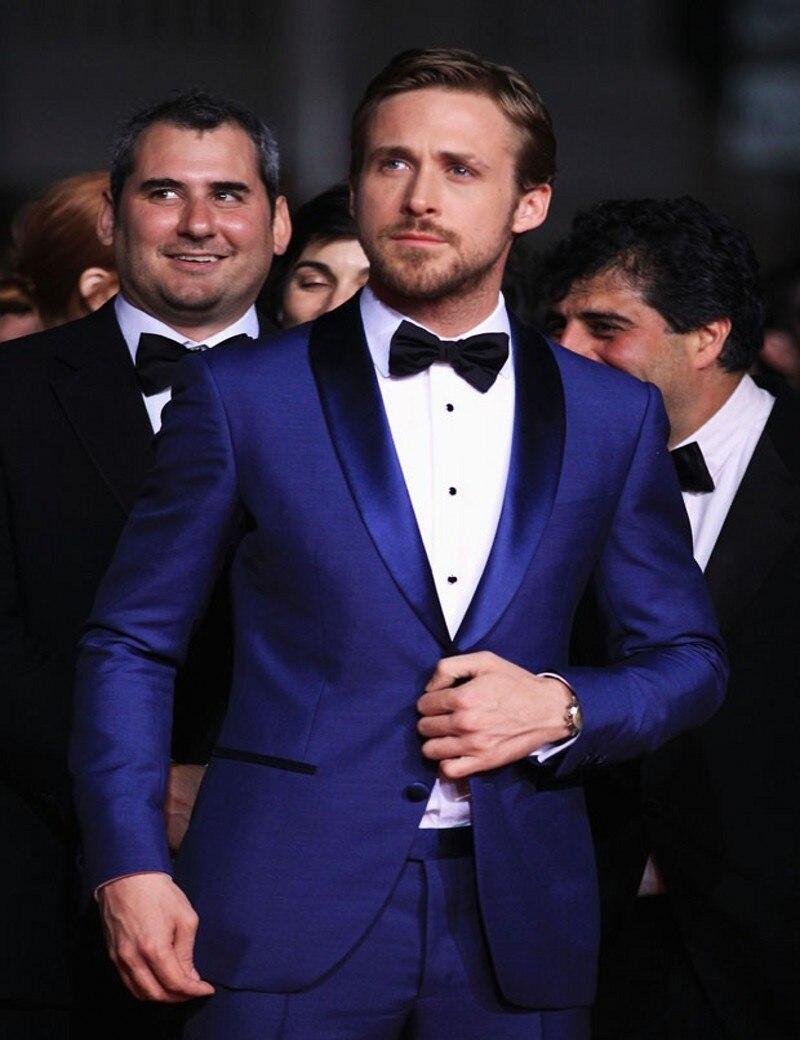 Chaqueta de padrino de boda hecha a medida, esmoquin de novio solapa de Satén, trajes de hombre azul real, padrino de boda (chaqueta + Pantalones + corbata + pañuelo) B807