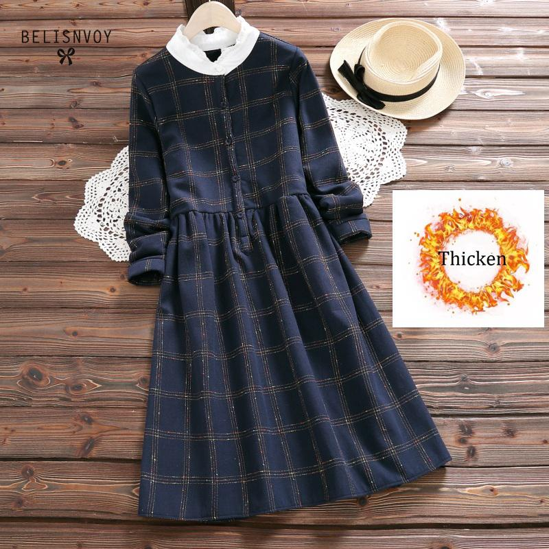Engrossar versão coreana colorido xadrez rendas costura gola manga longa mori menina vestido feminino 2019 outono wemen roupas