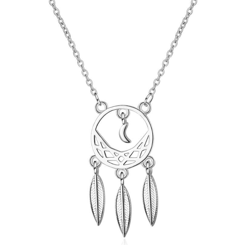 Collar con colgante de hojas y Luna hueca para mujer, cadena corta de clavícula, Gargantilla, joyería de plata de ley 925 SAN45