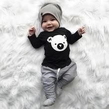 Conjunto de ropa de niños de bebé niños niñas de dibujos animados camiseta Koala Tops pantalones a rayas trajes conjunto roupa infantil gran oferta #06