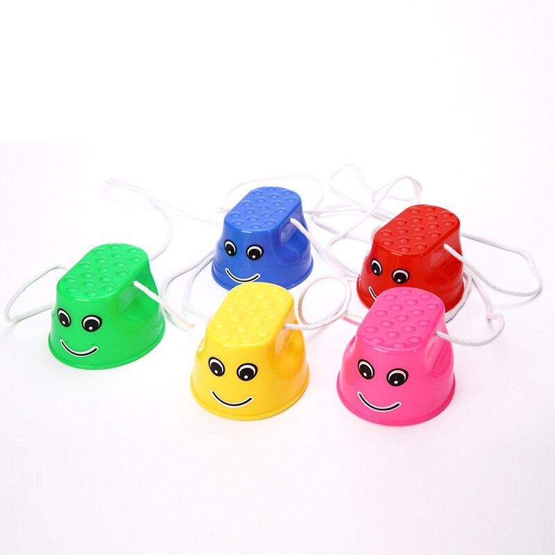 1 пара, мини-обувь для ходулей, детская спортивная игрушка для игр на открытом воздухе, Забавный утолщенный пластиковый баланс, тренировочный Смайл для общения, подарок для детей