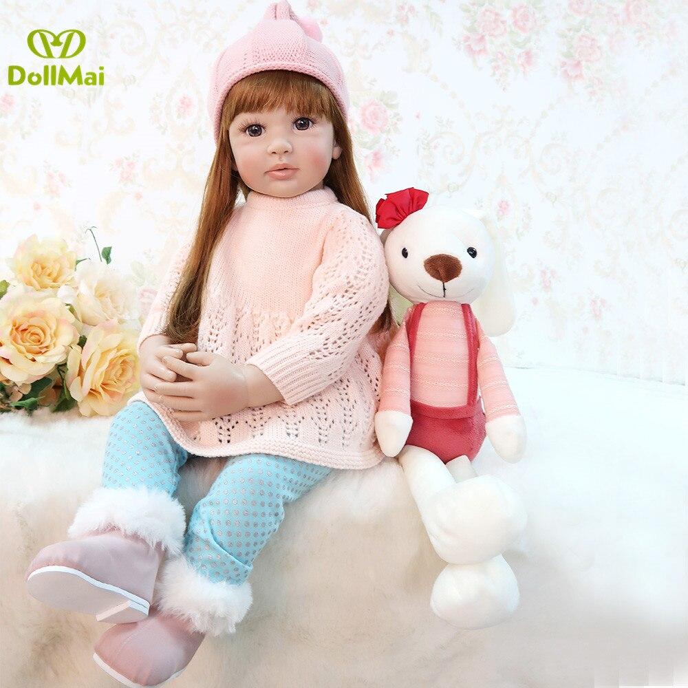 Кукла принцессы для девочек, 60 см, Реалистичная мягкая силиконовая Кукла Reborn, детские куклы, реалистичные виниловые куклы для маленьких дев...