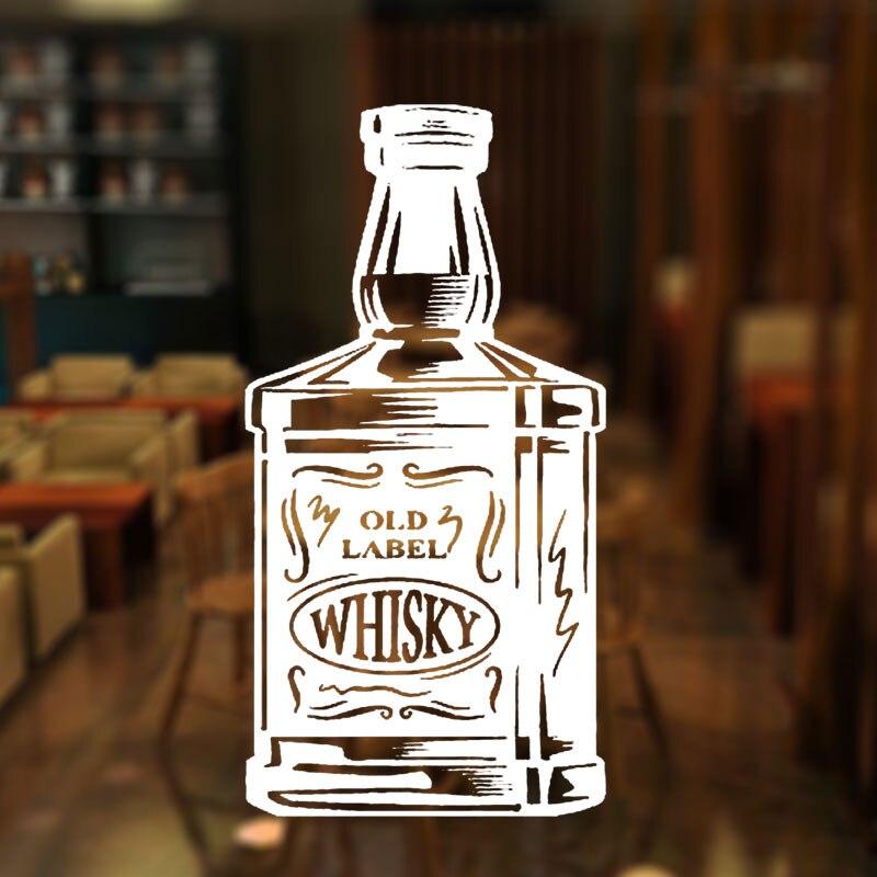 Bar Alcohol Restaurant Whiskey Tequila Wine Bottle Window Sticker Vinyl Decoration Plane Wall Decals Removable Mural 3W31