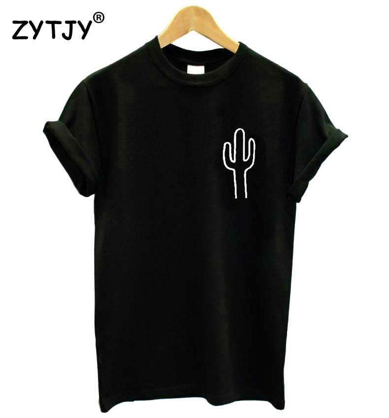 Cactus pocket print feminino tshirt algodão casual engraçado t camisa para senhora topo t hipster navio da gota Z-758