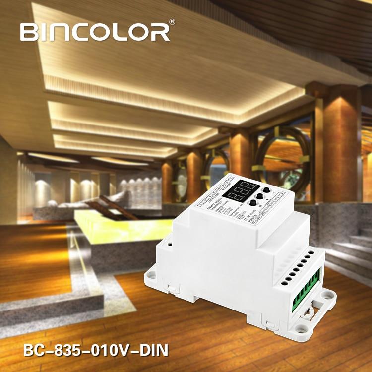 BC-835-010V-DIN DC12V 24V 5CH led Din Rail DMX512/1990 señal a 0-10V o PWM DMX512 controlador 10V 5V convertidor de señal DMX512