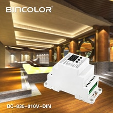 BC-835-010V-DIN DC12V 24V 5CH led Rail Din DMX512/1990 signal à 0-10V ou PWM DMX512 contrôleur 10V 5V convertisseur de signal DMX512