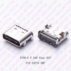 10 PCS USB 3.1 Tipo-C Conector 24PIN 4 Pés DIP Com Cúpula Fêmea Jack Terminal de Tomada de Telefone Notebook Cauda de Carregamento portátil
