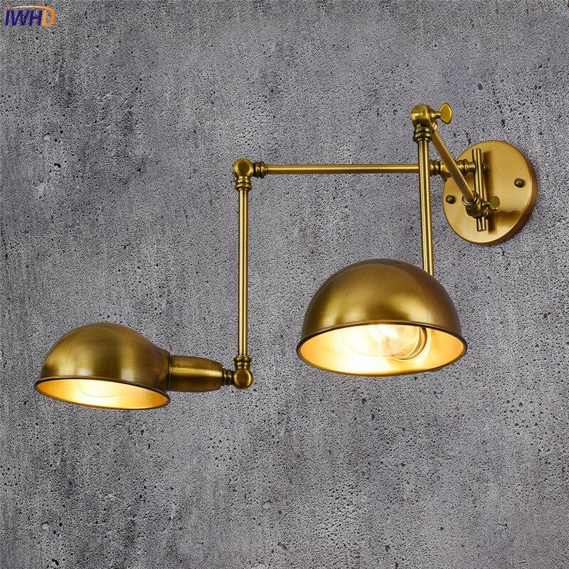 IWHD النحاس قابل للتعديل خمر الجدار مصباح العتيقة 2 رؤساء Wandlamp الرجعية لوفت الصناعية جدار ضوء اديسون الشمعدان الإنارة