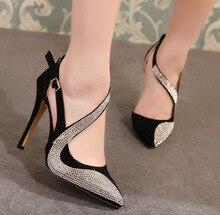 2019 Sexy talons hauts chaussures femmes marque design talons hauts boîte de nuit strass femmes pompes talons hauts fête chaussures de mariage talons