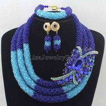 2016 perles africaines bleu Royal/bleu ensembles de bijoux nigérians ensembles de bijoux de mariage perles complètes indien ensembles de bijoux de mariée HD7618