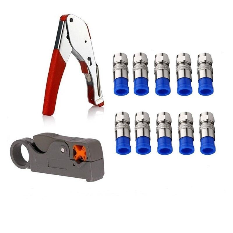 Coax Cable Crimper Kit de herramienta para Rg6 Coaxial Rg59 herramienta de compresión accesorio pelador de cables con 10 Uds conectores de compresión F