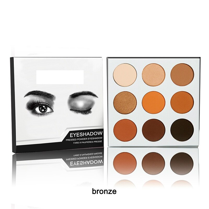 9 colores paleta de sombra de ojos Kyshadow polvo prensado sombra de ojos bronce Borgoña metálico mate brillo cosméticos paleta de maquillaje