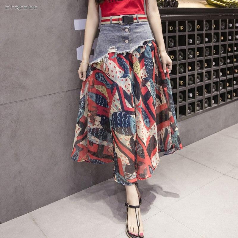 Patchwork Chiffon Women Denim Maxi Skirts 2019 Vintage Summer Jeans Saias Casual High Waist Female Boho Chiffon Long Skirts