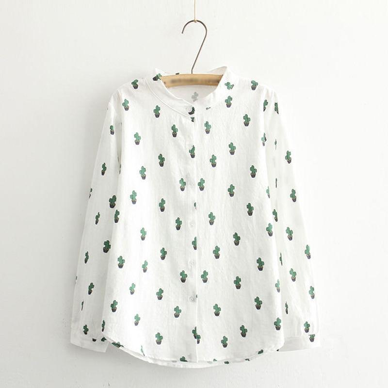 Dioufond, blusa de algodón y lino para otoño, camisa Harajuku para mujer, blusa informal de manga larga con dibujo con cactus para mujer