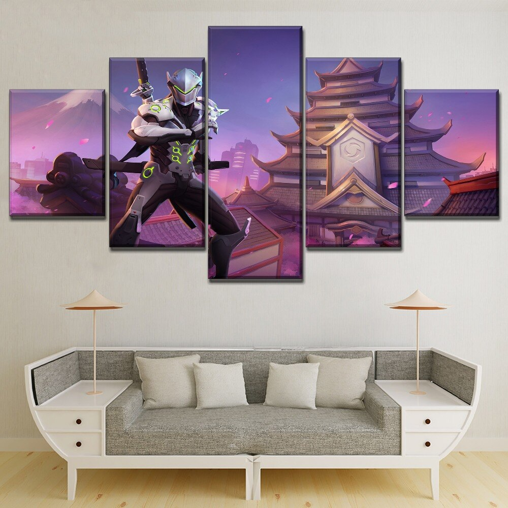 Jogo japonês construção paisagem abd espadachins genji pintura em tela tipo impressão moderno presente original decoração da parede 5 peça cartaz