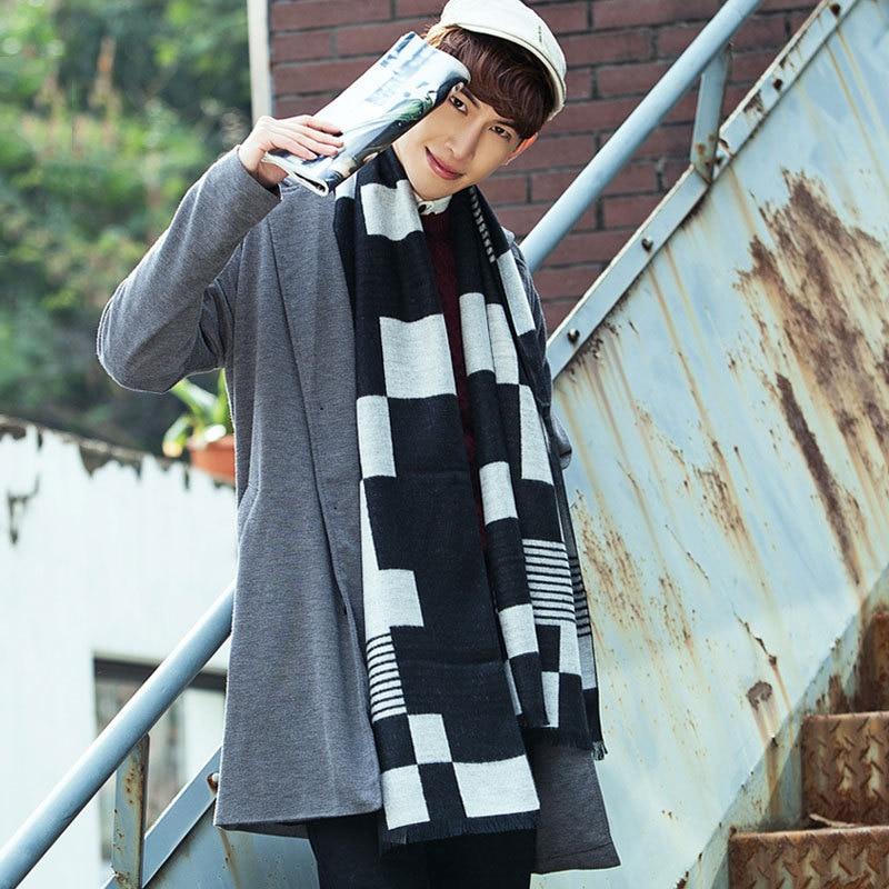 Fashion Man's Scarf 180*30CM Cashmere Business Style Hijab Winter Warmer Luxury Men's Pashminas Shawl Wraps Scarves