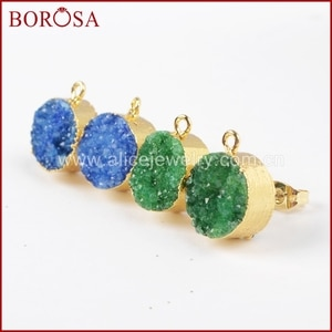 BOROSA Druzy Earring Gold Color 12mm Green And Blue  Color Round Crystal Druzy Druzy Ear Stud Post G1021