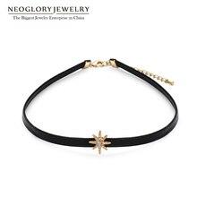 Neoglory moda rosa cor de ouro em forma de estrela preto gargantilha gothic lolita colares para meninas feminino presente quente 2020 novo ck