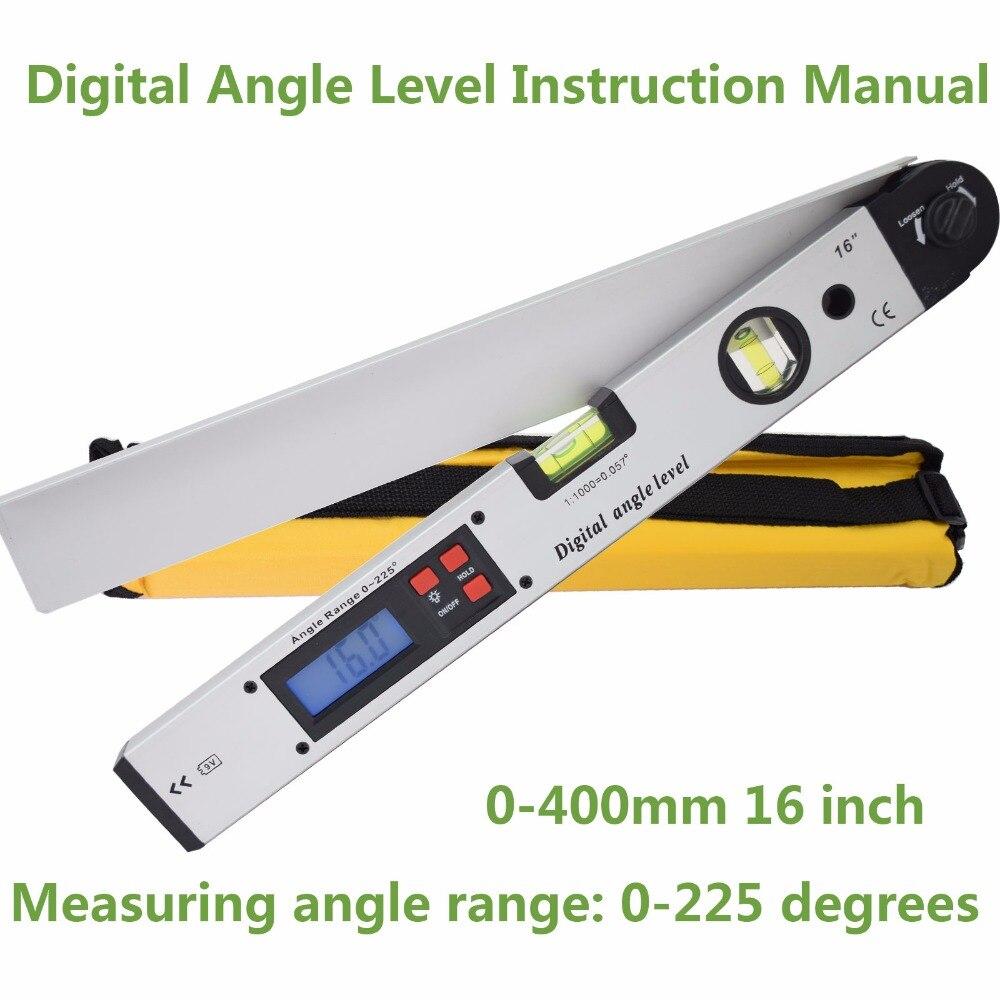 SHAHE 400mm/16 polegada anjo Digital display LCD de Nível de espírito nível Inclinômetro digital Ângulo Localizador
