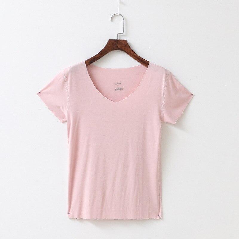 Summer Pink Sweet Cotton Short Sleeve T-shirt Female Slim Seamless Tshits Girls V Neck Undershirt Solid T Shirt Ladies Tops Hot