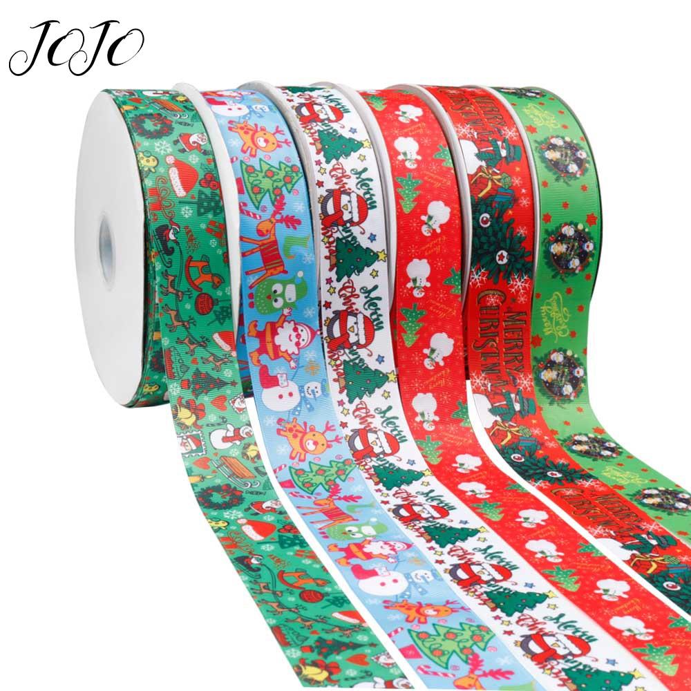 Cinta de grogrén de lazos de JOJO de 38mm y 2 pulgadas para manualidades navideñas, cinta impresa para costura DIY, cinta en moño, decoración de vacaciones