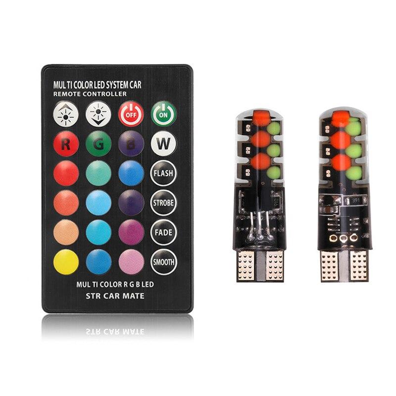 2 stück T10 W5W LED RGB Auto Lichter LED Leuchtmittel Mit Fernbedienung 194 168 501 Strobe Led Lampe Auto innen Lesen Lichter
