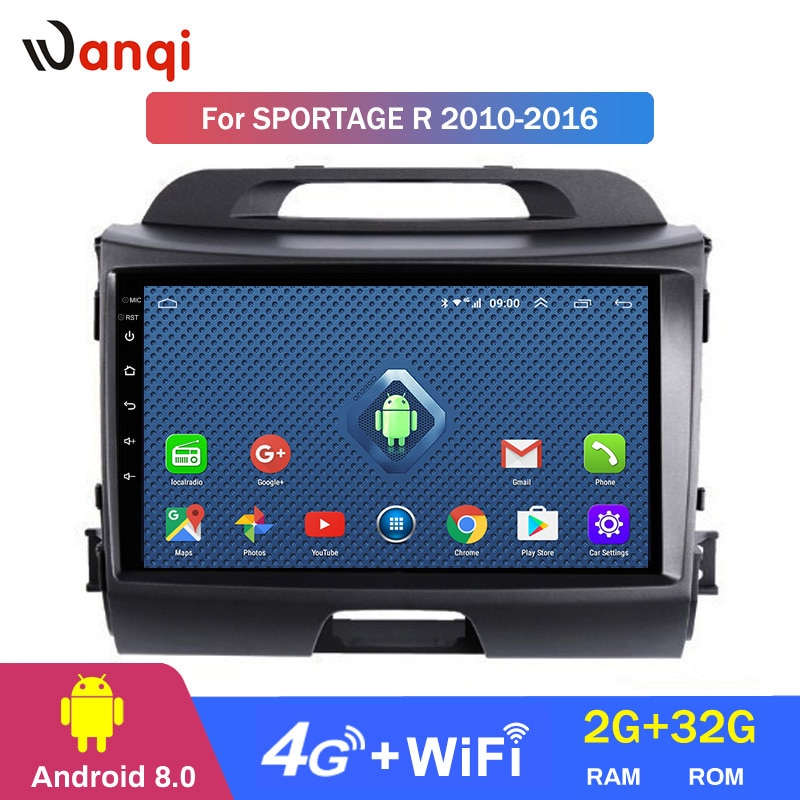 4G Lte todo Netcom 9 pulgadas android 8,0 para KIA Sportage R 2010-2016 sistema de navegación GPS multimedia para coche
