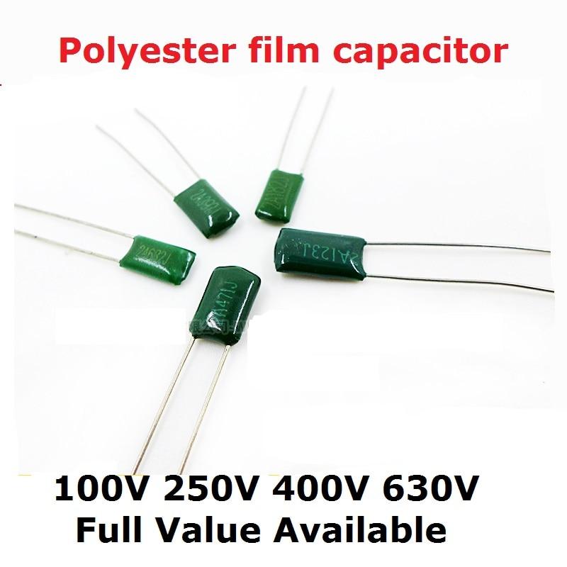 50PC 100V 630V 2J152J 2A563J 2A683J 2A823J 2A104J 2J222J/0,00/0,0/1,5/2,2/56/68/100/82/NF/UF condensador de película de poliéster 152, 104