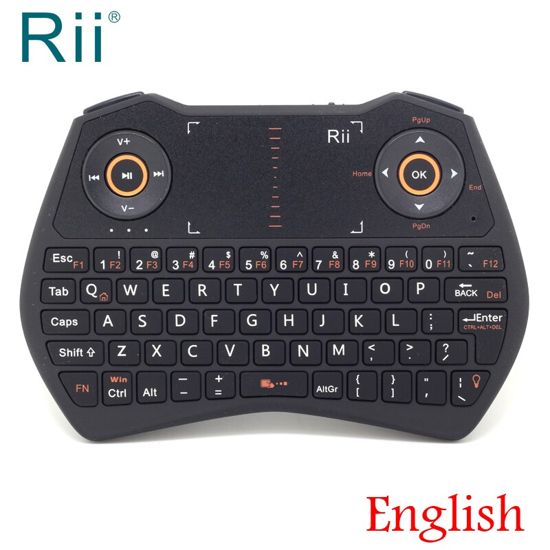 Original Rii i28C retroiluminado 2,4 GHz Mini teclado inalámbrico ratón del aire con el panel táctil para Android TV caja de IPTV Mini PC portátil