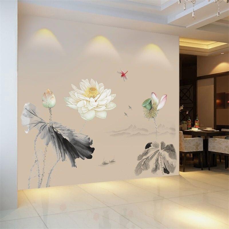 Adhesivo de pared de loto de tinta de estilo chino, Fondo de sofá/TV para el hogar, decoración embellecedora, Mural para sala de estar, póster, calcomanías artísticas