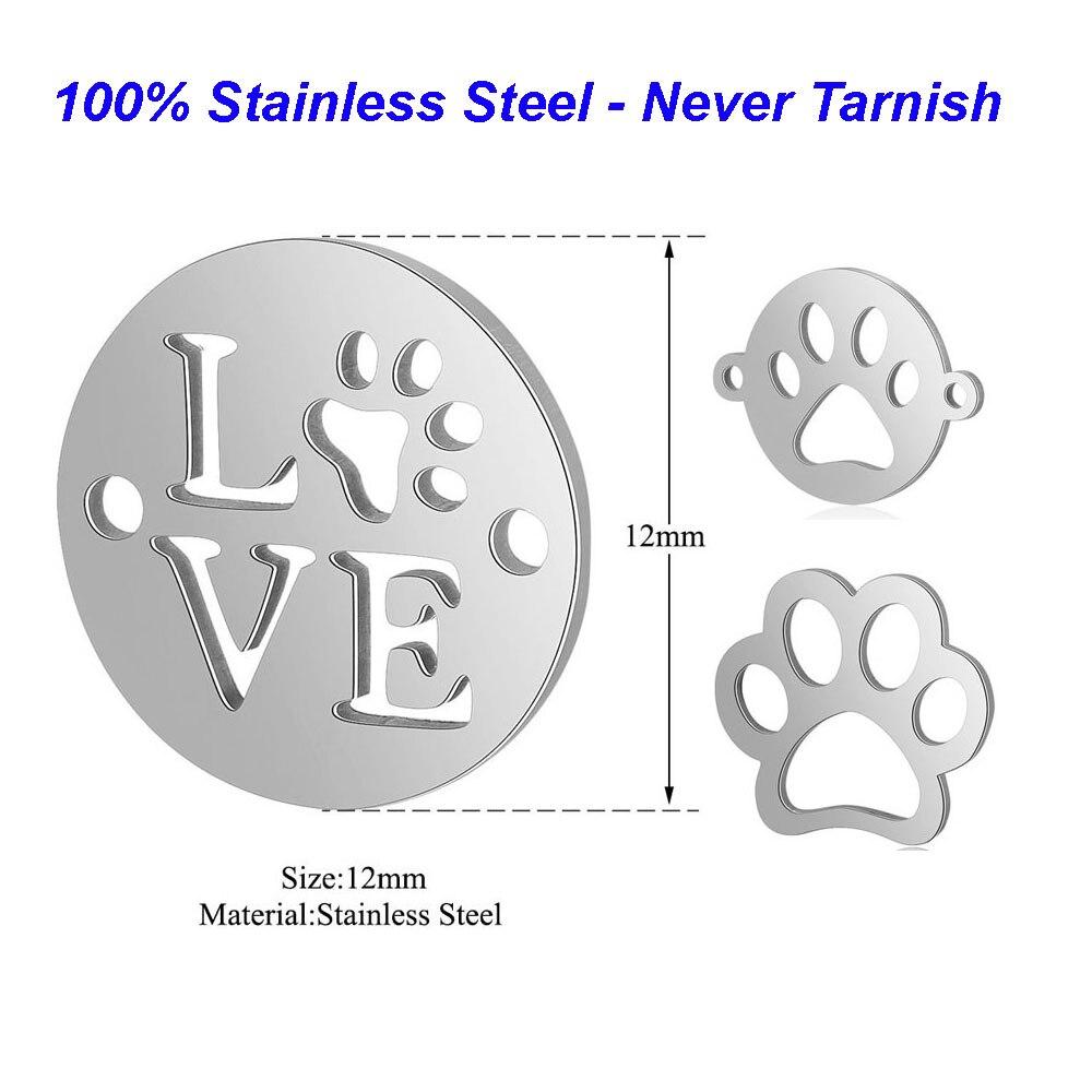 5 pcs/lot 100% acier inoxydable animaux breloques chien patte breloques Vnistar faisant des bijoux breloques Connextors pour Bracelets en gros
