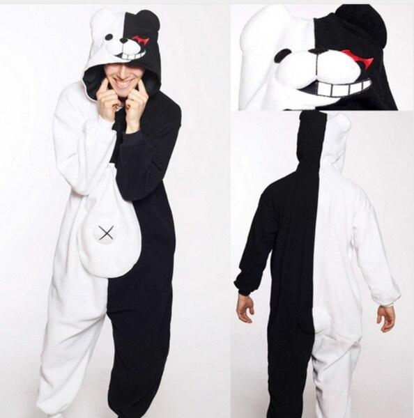 Горячая аниме Danganronpa Косплей Монокума Пижама для взрослых унисекс комбинезон Kumamon Monokuma хмурый Медведь пижамы