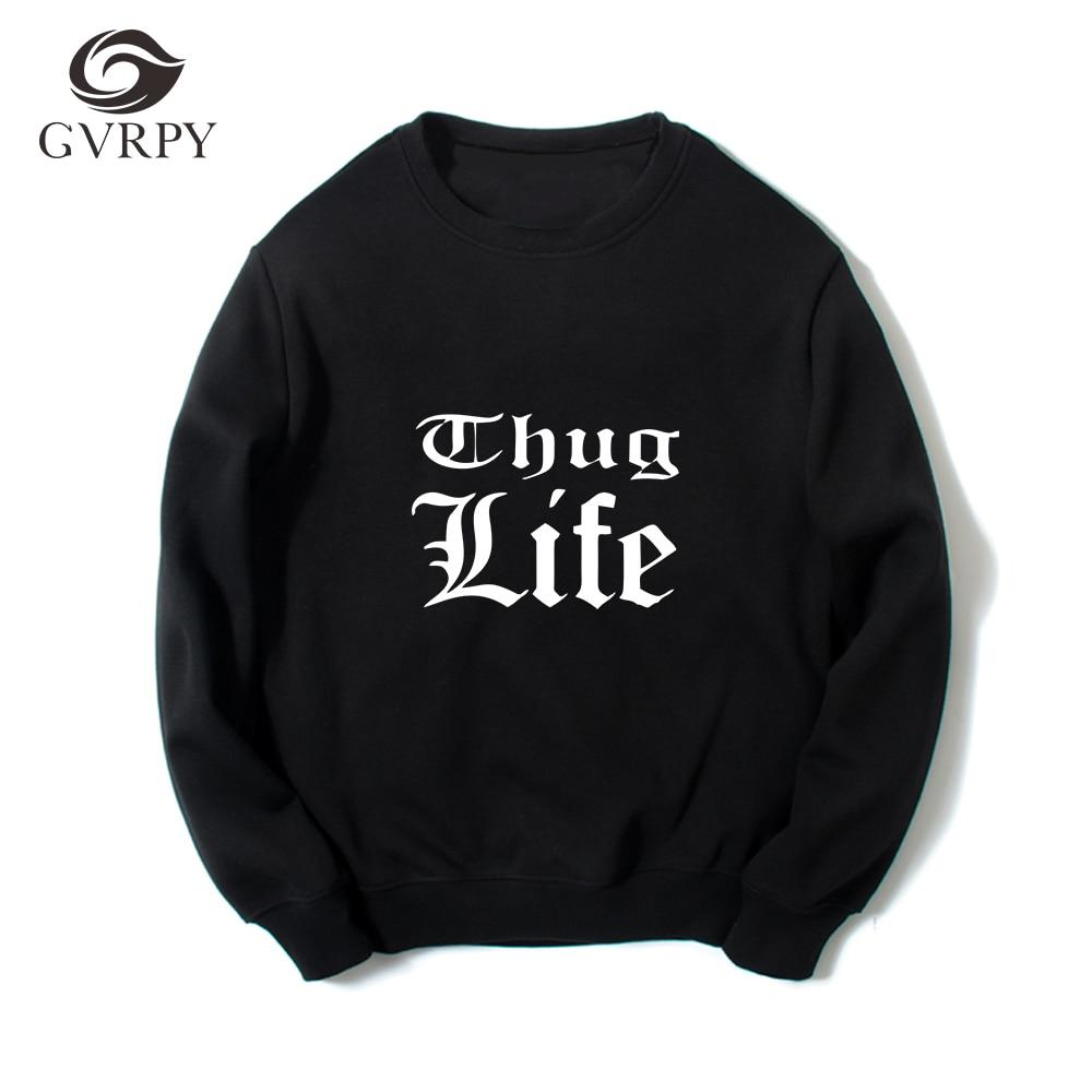 New Spring Autumn Thug Life Printed Men Sweatshirts Rap Long Sleeves Hip Hop Tupac 2PAC Female Male Fashion Hip Hop Kpop Hoodies