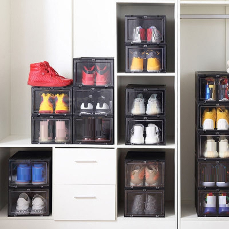 1 Pcs נעליים חזה מגירות Stackable נעלי מגירת אחסון קופסא פלסטיק מגירות קופסא נעליים מעובה flip מגירה ארגונית אבק- הוכחת